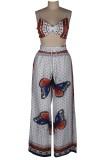 Soutien-gorge papillon d'été et pantalon large taille haute assortis à 2 pièces