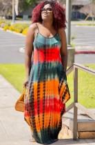 Vestido largo con tirantes anudados y correas de verano de talla grande
