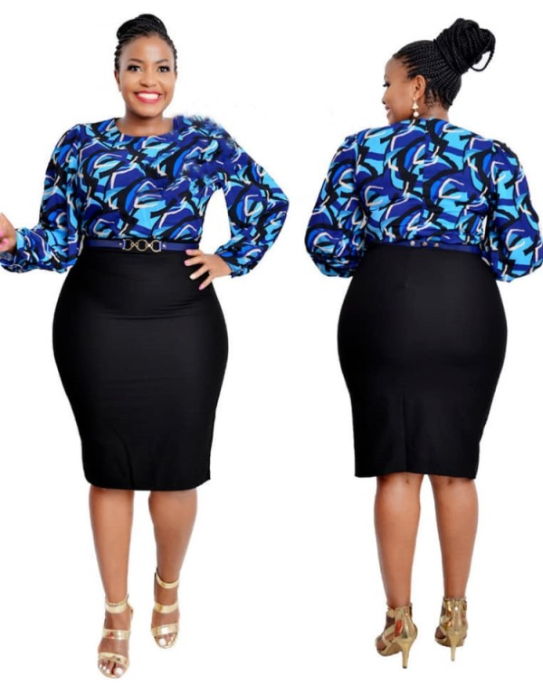 Spring Plus Size Mother of Bride Print Midi Dress with Full Sleeves