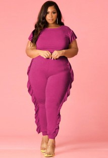 Летний фиолетовый облегающий комбинезон большого размера с короткими рукавами и оборками