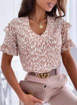 Camisa elegante de manga con volantes y cuello en V con estampado de verano