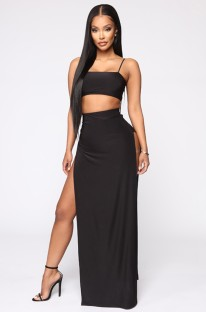 Summer Black Strap Crop Top und Slit Long Maxirock Matching Party Set