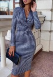 Spring Print V-Neck Elegant Pencil Dress with Full Sleeves