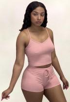 Summer Solid Color Matching Halter Crop Top y Shorts Conjunto de 2 piezas