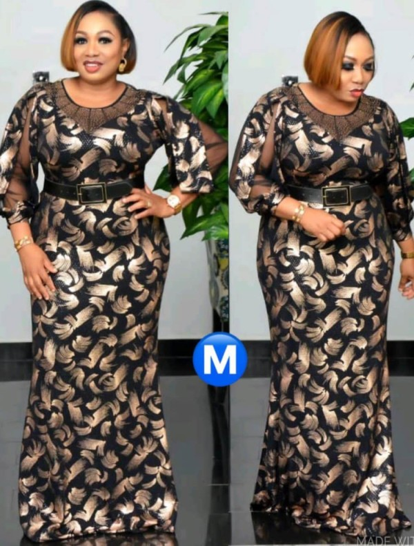 Spring Plus Size Mother of Bride Print Long Gown with 3/4 Sleeves