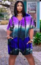 Mamelucos sueltos con cuello en V y Tie Dye de verano con bolsillos