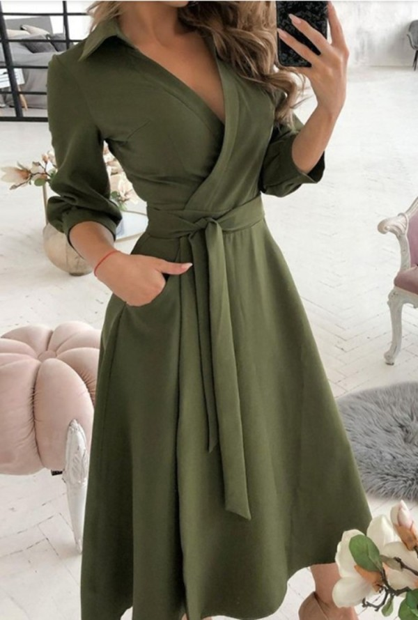 Spring Solid Color Elegant Wrapped Skater Dress with 3/4 Sleeves