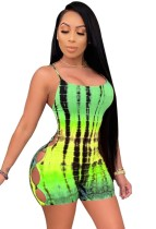 Summer Hollow Out Sexy Tie Dye Strap Bodycon Rompers