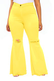 Sommergelbe High Waist Ripped Flare Jeans