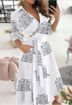 Spring Print Elegant Wrapped Skater Dress with 3/4 Sleeves