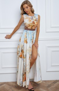 Summer Formal Print Sleeveless Slit Long Dress