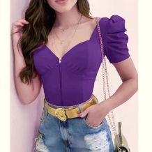 Летний фиолетовый винтажный топ на молнии с объемными рукавами