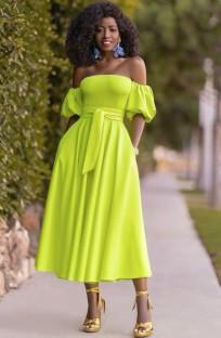 Yaz Neon Yeşil Straplez Şık Uzun Elbise