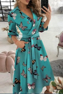 Spring Print Elegant Wrapped Skater Dress with 3/4 Sleeves