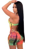Summer Hollow Out Sexy Tie Dye Strap Bodycon Barboteuse