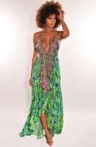 Vestido longo com estampa de verão em v profundo alto baixo halter longo maxi