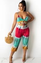 Top corto e pantaloni increspati con cinturino con stampa multicolore estiva