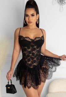 Vestido de fiesta con tirantes sexy de encaje negro de verano