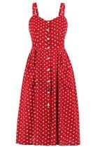 Summer Red Polka Vintage Strap Party Dress