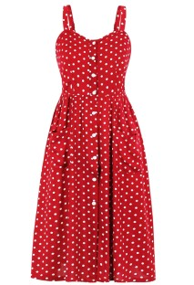 Robe de soirée d'été à pois rouge à bretelles vintage