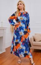 Vestido maxi con cuello en O de manga larga floral de verano