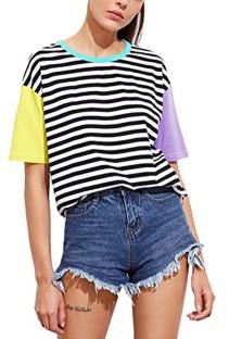 Camisa básica con cuello redondo y estampado de rayas de verano en color bloque