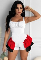 Summer White Strap Ruffles Bodycon Rompers