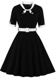 Robe de bal vintage d'été noire à manches courtes