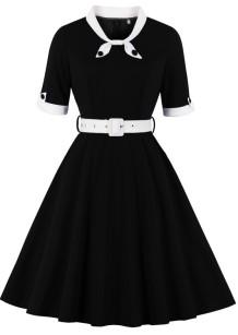 Vestido de fiesta vintage de manga corta negra de verano