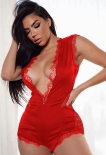 Écusson en dentelle rouge d'été Sexy barboteuses de fête en V profond