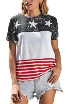 Summer Stars Print Streifen O-Neck Basic Shirt