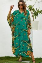 Zomer plus size print groene moslim lange jurk