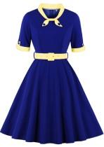 Summer Blue Short Sleeves Vintage Prom Dress