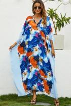 Zomer moslim bloemen v-hals lange jurk