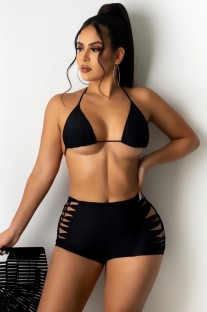 Summer Black Bikini Top y Hollow Out Matching Shorts Conjunto de 2 piezas