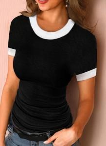 Camisa básica ajustada con cuello redondo de color bloque de verano