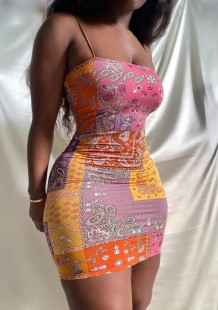 Mini robe club d'été à bretelles imprimées rétro