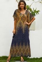 Zomer moslim retro print O-hals lange jurk