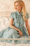 Vestido de baile vintage de manga curta verde verão