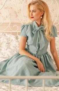 Vestido de fiesta vintage de manga corta con lazo verde de verano