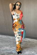 Sommerfarben drucken sexy Halfter langes Kleid