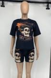 Conjunto de 2 unidades de camisa preta com estampa casual de verão e shorts combinando