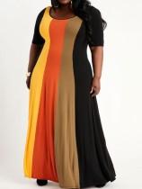 Zomer plus size regenboog lange maxi-jurk met korte mouwen en O-hals
