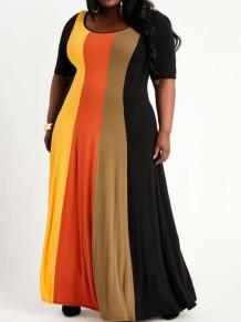 Vestido largo largo con cuello redondo y manga corta con arcoíris de verano de talla grande