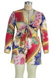 Summer Plus Size Print Langarm geknotete Bluse und passende Shorts 2PC Set