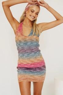Mini abito canotta arcobaleno lavorato a maglia casual estivo