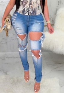 Jeans strappati a vita alta blu estivi tagliati