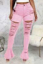 Summer Pink Bell Bottom High Waist Ripped Jeans