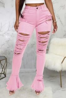Jeans strappati a vita alta con fondo a campana rosa estivo