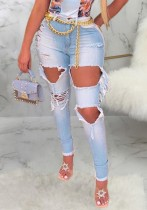 Summer Light Blue Cut Out Jeans mit hoher Taille